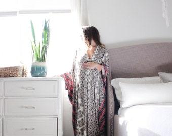 Embiebaby elegant bohemian maternity kaftan maternity dress hospital robe- Kheili Print