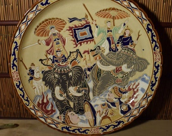 Extra Large Vietnamese Ceramic Wall Hanging Plate Trung Sisters / Hai Ba Trung /  19 inches