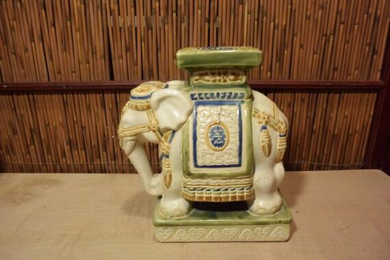 Vintage Vietnamese Ceramic Elephant Medium Plant Stand