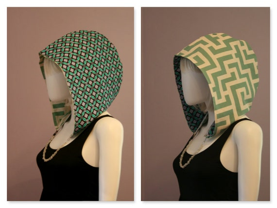 Crystal Hoods / festival hood / reversible / colorful / geometric / teal / purple /