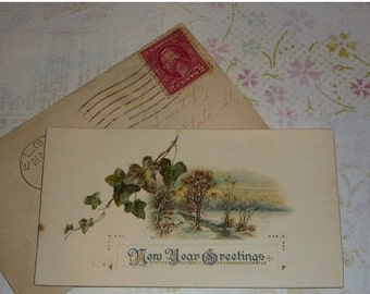 Very Small New Year Greeting Card With Original Envelope Antique Christmas Card 1914