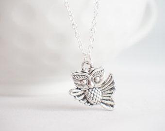 Owl necklace - owl pendant - owl always love you - owl gift - tiny owl necklace - flying owl - owl jewelry