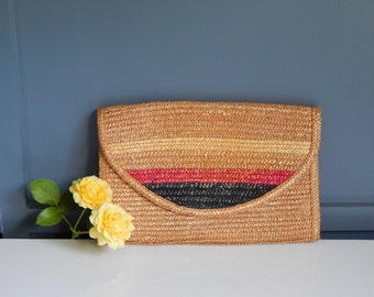 Vintage Woven Clutch with Black and Red Stripes/ Vintage Woven Purse/ Woven Handbag/ Summer Purse