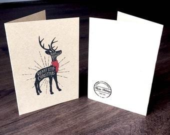 Printable Christmas Cards - Reindeer Design