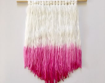 Dip dyed pink ombre wool hanging