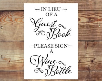 INSTANT DOWNLOAD Printable Please Sign a Wine Bottle Guest Book Sign Digital File