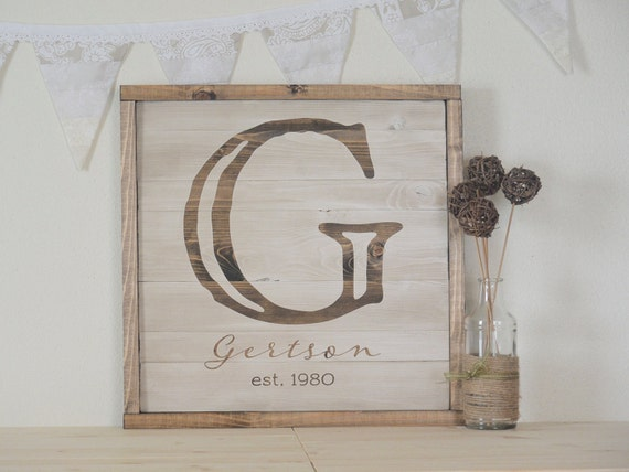Rustic Monogram Wall Decor : Rustic home decor custom monogram personalized wall