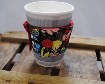 Coffee cup cuff - fabric button up, handmade with Marvel fabric (UK based)