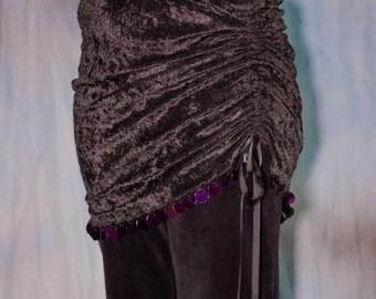 Black Velvety Mini Skirt with hand beading