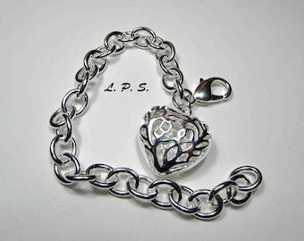925 Sterling Silver Bracelet. Sterling Silver Heart Bracelet. 925 Heart Charm.