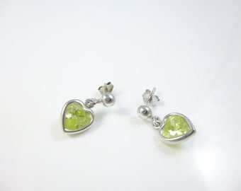 Heart Earrings, Green Earrings, cz Peridot Earrings, Sterling Silver Heart Earrings, Dangle Earrings, Hearts