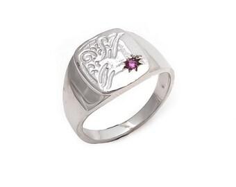 Men's Ring 925 Sterling Silver Natural Ruby Gemstone Men's Ring