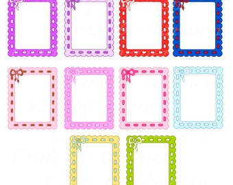 frame with bow frames clip art cute frames scrapbook graphic design personal small business use transparent background