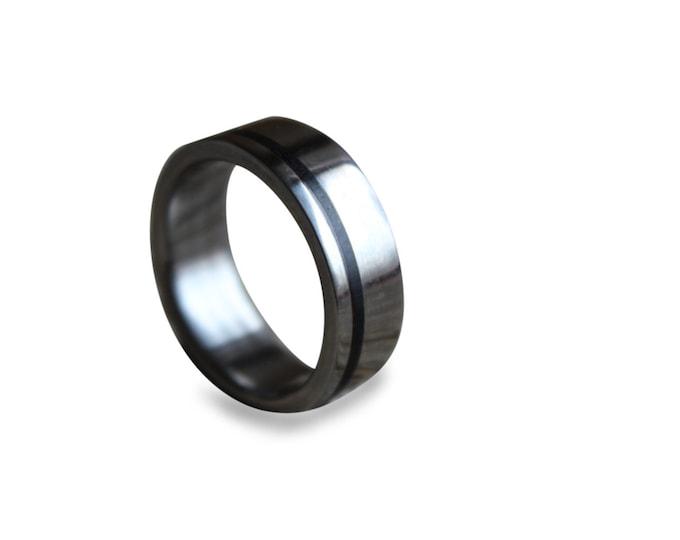 Men's titanium band titanium wedding band wedding ring engagement ring for men unisex titan ring with ebony wood inlay