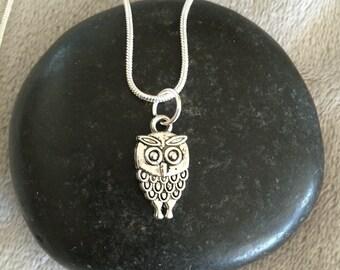 Silver Owl Necklace Owl Jewelry Owl Lover Gift Silver Owl Charm Hoot Owl Snowy Owl Bird Lover Gift Barn Owl