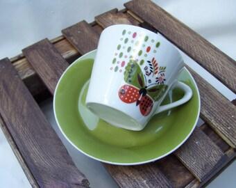 Butterfly Retro Mid Century George Briard Orange Avocado GreenTeacup Tea Cup Saucer