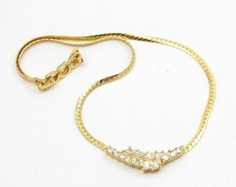 Christian Dior Rhinestone Gold Tone Choker Necklace Designer Signed Bridal Jewelry Gift Ideas 16 Inches  High End Vintage Costume Prom