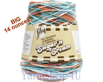 SALE! 14oz AHOY OMBRE Sugar N Cream Cotton Cone yarn 14oz cone yarn, Ahoy Cotton dish cloth yarn, Lily Sugar N Cream cotton, 14oz Cotton