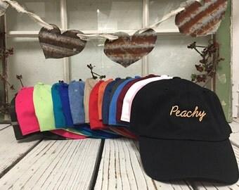PEACHY Baseball Hat Low Profile Embroidered Baseball Caps Dad Hats Peach Thread