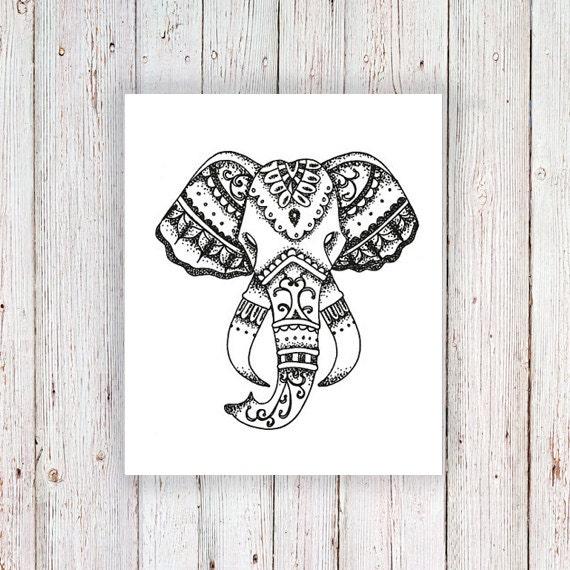 Elephant Tattoo Quotes: Elephant Temporary Tattoo / Elephant Head Temporary Tattoo
