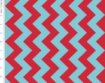 Red & Aqua Chevron Fabric, Riley Blake C380-07 Medium Chevron, Turquoise and Red Cotton Fabric, Chevron Quilt Fabric, Cotton Chevron