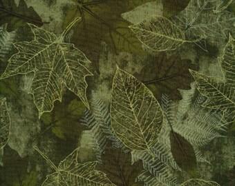 Green Metallic Fall Leaf Fabric, Timeless Treasures Fossil Leaf  CM6445 Green, Fall Quilt Fabric, Thanksgiving Fabric, Metallic Gold, Cotton