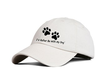 Natural Baseball Hat - I'd Rather Be With My Dog