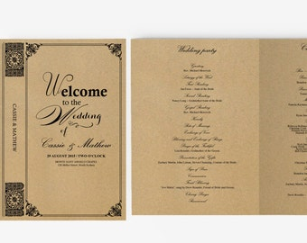 Wedding Program Template | Editable Word template | Instant Download  | DIY You print | Vintage Story book