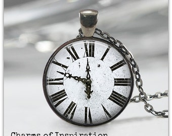Clock necklace Black and White clock jewelry Clock Face Roman numerals Steampunk Pendant Jewelry 103
