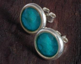 Silver Stud Earrings - Aqua Blue
