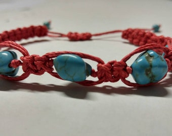 Red Hemp Bracelet With Turquoise Handmade, Bracelet, Turquoise Bracelet, Hemp Jewelry, Braided Bracelet, Hemp, Jewelry, Candmjewelrydesigns.