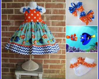 Boutique custom handmade Finding Dory inspired twirl dress with socks and bows