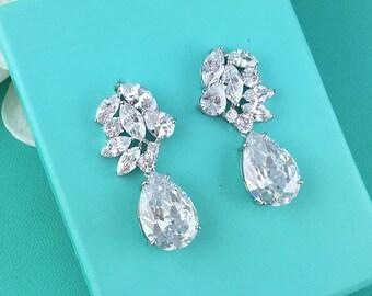 Sparkle CZ earrings, Pear Crystal Wedding Earrings, wedding jewelry, bridal jewelry, wedding earrings, Addisyn Crystal Earrings