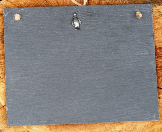 Penguin Design Slate Chalk Board Messages Lists Tally