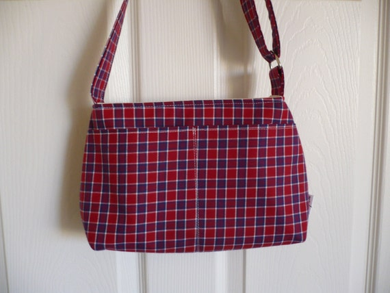 Plaid Adjustable Strap Mini Diaper Purse Bag