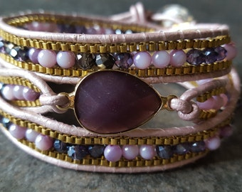 Purple  beaded leather wrapped bracelet, plum glass bezel, leather and chain beaded bracelet, chan luu inspired,, gold  and purple
