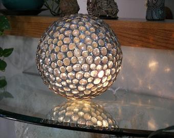Mosaic Glass Ball with Lights, Glass Sphere, Glass Orb, 3D Sculpture, Mosaic Light