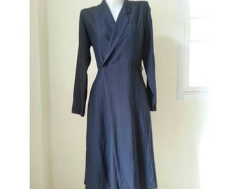 Sale!! Vintage 1970s COMME des GARCONS tricot Navy blue dress