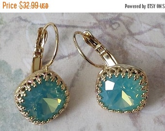 Mothers Day Sale Pacific Opal Rhinestone Earrings - Crystal Rhinestone Earrings - Gifts for Her - Vintage Inspired Earrings - Anniversary Gi
