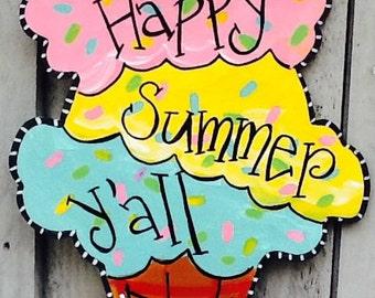 Happy summer door hanger, summer door hanger, ice cream door hanger, ice cream sign, welcome summer sign, welcome summer door hanger