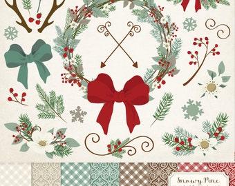 Premium Rustic Christmas Clip Art & Christmas Digital Papers Set - Pine Wreath Clipart, Christmas Clipart, Antlers Clip Art, Snowflakes