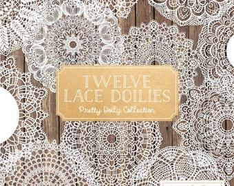 Premium Large Vintage Lace Doilies Clipart - White Lace Doilies, Lace Doily Clip Art, Doily Vector, Lace Vintage Doily, Vintage Doilies
