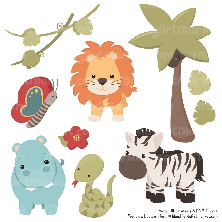 Cute vintage jungle animal clipart cute safari by amandailkov for Classic jungle house for small animals