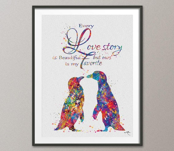 Wedding Gifts For Nerds : Penguin Love Watercolor Art Print Geek Nerd Love Wedding Gift Wall Art ...
