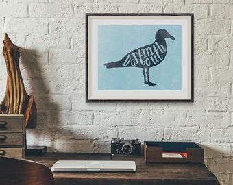 Modern Dartmouth Nova Scotian typographic seagull wall art print