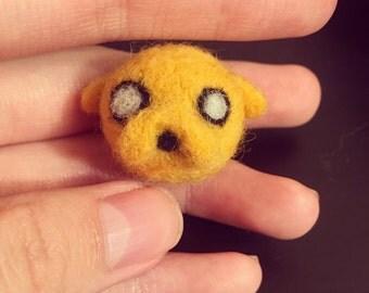 "Adventure Time ""Jake the dog"" wool felt /needle felt broch"