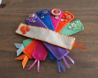 Felt Bookmark - Buttons and Ribbon