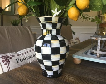 Hand painted checkered Vase