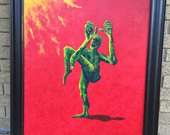 Ephraim's Shadow- Original Acrylic Painting vibrant color FRAMED