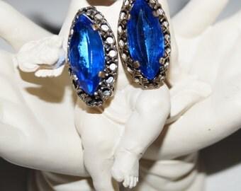 40's Earrings Ear Clips Strass Blue